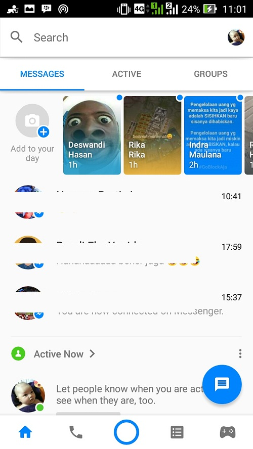 Tampilan menu instant games di facebook messenger