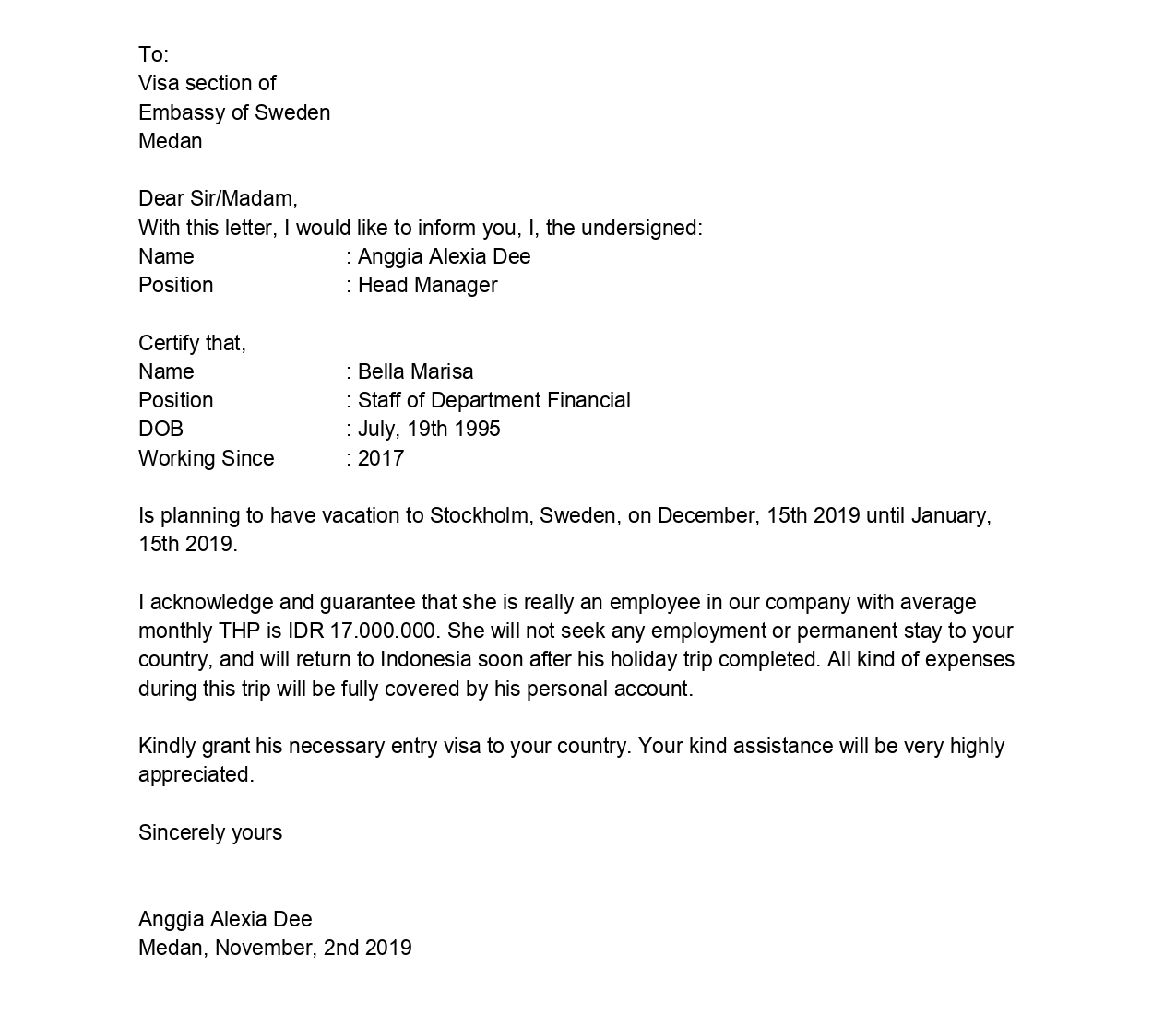 Contoh Surah Keterangan Karyawan Untuk Segala Keperluan - 005