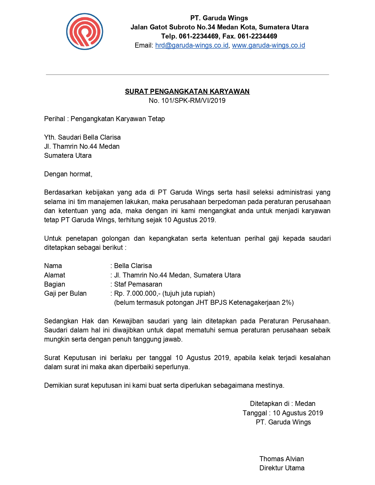 Contoh Surah Keterangan Karyawan Untuk Segala Keperluan - 001